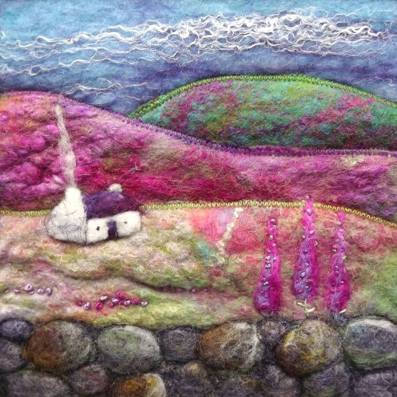 Felt Picture Scottish Hills, Cottage and Sheep