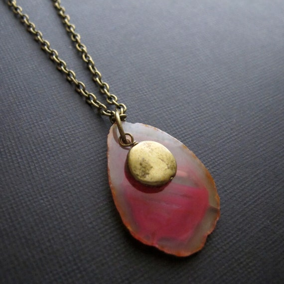 Agate Slice Necklace Pink Necklace Women's Fashion Pink Agate