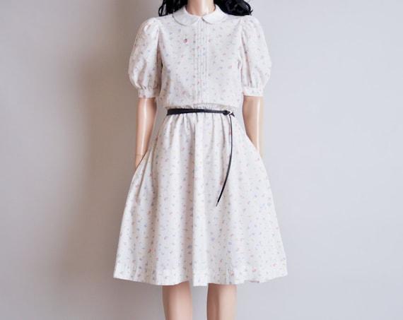 white floral print peter pan collar dress / midi / s