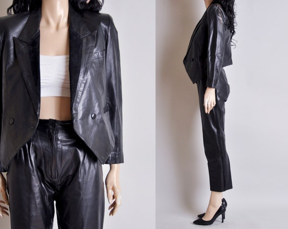 black leather tuxedo jacket suit pants s