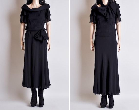 vintage silk chiffon black gown / dress / floor length / cocktail / fishtail / m