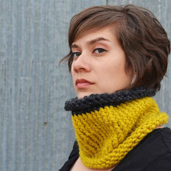 Citron and Charcoal Wool Blend Cowl