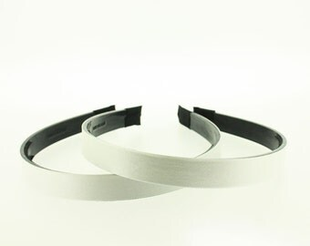 14mm (1/2 inch) Satin Lined Black Headband with Teeth in WHITE - 2 Pieces