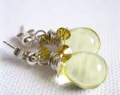 Jonquil Yellow Briolette & Swarovski Crystal Sterling Silver Stud Earrings - UK Seller - blossomingsilver