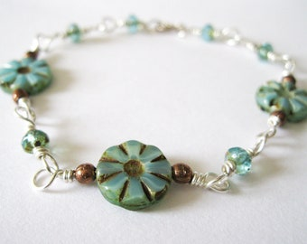 Sterling Silver, copper & Opaque Teal Picasso Coins Bracelet