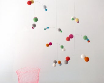 Polka Dot modern hanging mobile - Circus bright colours by Puka Puka