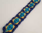 Bohemian Chic Cavandoli Micro Macarme Hemp Bracelet/Anklet in Blue and Yellow