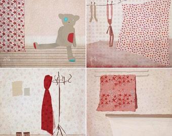 Tea Set of 4 prints