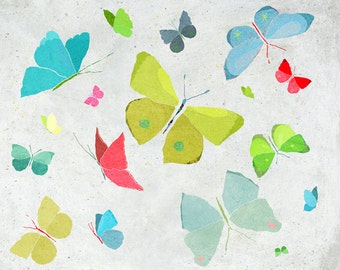 Mai - Art - Print of an original illustration - Color Print - Drawing - Spring colorful Butterflies - Children room wall decor