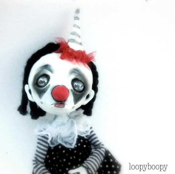 Creepy Clown Ooak Art Doll Sad Clown Buffy