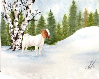Boer Goat Snow greeting card