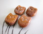 Brown Owl Beads Handmade Polymer Clay