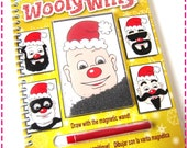 MAGNETIC CHRISTMAS SANTA Claus Recycled Notebook / Upcycled Journal - Fun Stocking Stuffers - Add a Mustache / Moustache and a Beard
