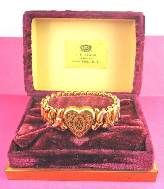 Vintage WWII Gold Plated Sweetheart Expansion Bracelet Signed Phoenix