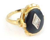 14K Vintage 1950s Mid Century Onyx and Diamond Cocktail Ring
