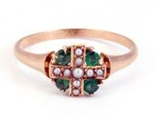Antique Rose Gold Victorian Emerald and Seed Pearl Ring