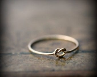 Knot ring - recycled solid 14K yellow gold ring