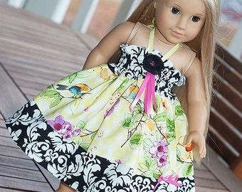 "American Girl dress, 18"" doll dress, 23"" doll dress, Easter doll dress, yellow dress, floral dress, tea party doll dress, birthday gift"