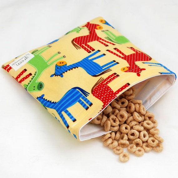Neigh at the Farm - Medium Reusable Sandwich Bag from green by mamamade