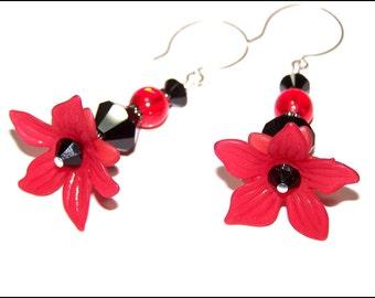 Red lucite flower and black crystal beaded earrings - dangle earrings - drop earrings