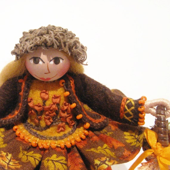 Art Doll Sitting on a Stump, Autumn Collectible, Hand Embroidered, Handmade