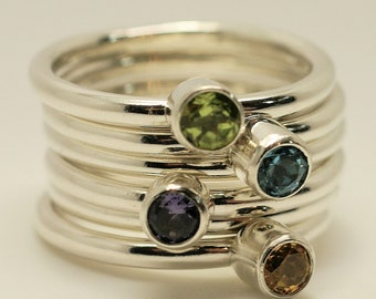 Mothers day birthstone gemstone stack rings argentium silver