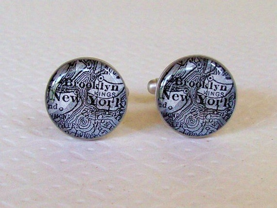 Brooklyn New York Map Cuff Links  in Black and White Vintage Atlas Cufflinks Last Pair