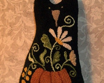 Primitive Needle Punch Pillow Fall Black Cat And Pumpkin Full Of Flowers