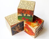 Rustic Wooden Blocks with Text and Fairytale Images- Nursery or Home Decor- Handmade