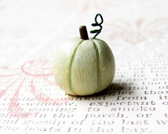 Miniature White Pumpkin Sculpture- Halloween Decor, Thanksgiving Centerpiece, Wedding Decoration, Nursery Art