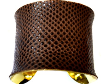 Gold Lined Cuff Bracelet  in Brown Snakeskin - by UNEARTHED