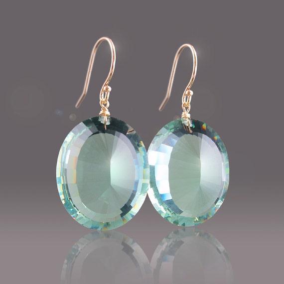 SALE: 14k Green Amethyst Earrings