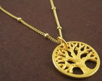 Gold Tree of Life Charm Necklace Nature Jewelry Tree Necklace for Women