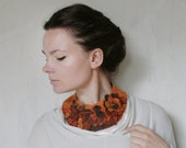 Frida Kahlo inspired Orange Meadow -- Felted Neck Piece -- made from wool
