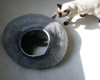 Cat Nap Cocoon / Cave / Bed / House / Vessel / Furniture - Hand Felted Wool - Crisp Contemporary Design - READY TO SHIP Gray Cat Bubble