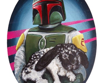 Large Print 12x15 Boba Fett with Specked Rabbit