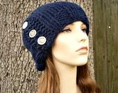Knit Hat Womens Hat - Cardigan Beanie Hat in Navy Blue Knit Hat - Blue Beanie Blue Hat Navy Beanie Navy Hat Womens Accessories Winter Hat