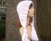Knit Hat Womens Hat Knit Hood - Tassel Hat Ear Flap Hat in Celebration Metallic White Knit Hat - White Hat Womens Accessories Winter Hat