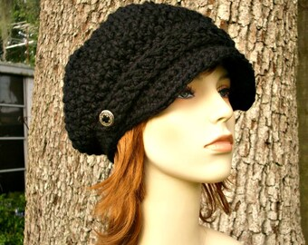 Black Newsboy Hat Crochet Hat Womens Hat - Crochet Newsboy Hat Black Crochet Hat - Black Hat Black Beanie Womens Accessories