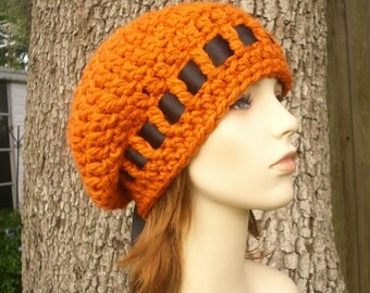 Crochet Hat Orange Womens Hat - Escargot Beret in Pumpkin Orange Hat Orange Beret Orange Beanie Womens Accessories - READY TO SHIP