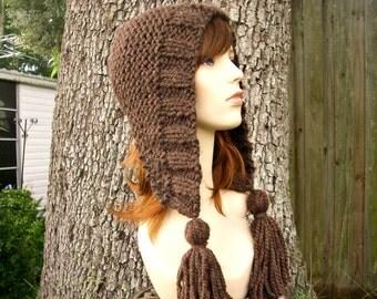 Knit Hat Womens Hat Knit Hood Brown Ear Flap Hat - Tassel Hat Wood Brown Knit Hat - Brown Hood Brown Hat Womens Accessories Winter Hat