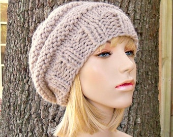 Linen Cream Womens Hat - Original Beehive Beret Hat Cream Linen Knit Hat - Cream Hat Cream Beret Womens Accessories Winter Hat