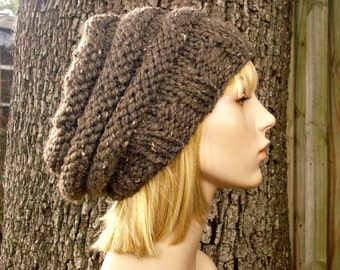 Knit Hat Womens Hat Slouchy Beanie - Oversized Beehive Beret Hat in Barley Brown Knit Hat - Brown Hat Brown Beret Womens Accessories