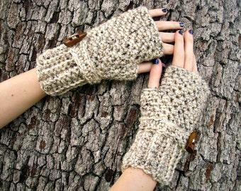 Crocheted Fingerless Gloves Mittens - Fingerless Gloves in Oatmeal - Oatmeal Gloves Oatmeal Mittens Womens Accessories