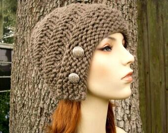 Taupe Womens Hat - Hybrid Swirl Cloche Hat in Brown Taupe Knit Hat - Taupe Hat Taupe Beanie Womens Accessories Winter Hat