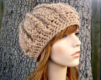 Brown Womens Hat - Oversized Monarch Ribbed Beret in Camel Brown Crochet Hat - Brown Hat Brown Beret Brown Beanie Womens Accessories