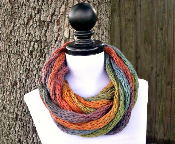Chunky Scarf Thick Cowl Scarf Womens Circle Scarf Knit Infinity Cowl Starling Rainbow Scarf Womens Accessories Fall Fashion - READY TO SHIP