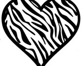 Zebra Heart Vinyl Decal 5 inch