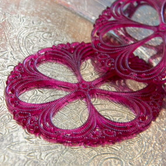 German Plastic -2 Matte Bright Plum Filigree Flowers 54mm