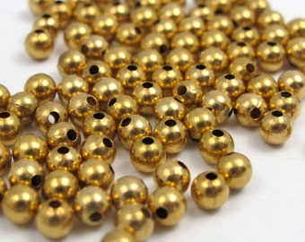 Vintage Gold Plated Round Metal Beads (100X) (B551)